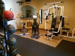 Alpine Villa Amenities Fitness Center, weight machine, free weights, elliptical machine, stationery bicycle, pull-up bar, power stands, yoga mats, pilates balls