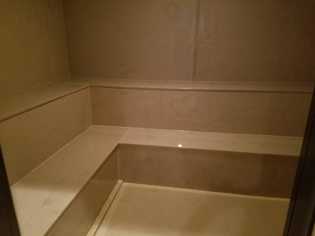 Amenities Steam Room, stepped seating, cultured marble