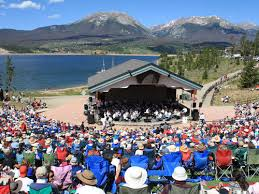 Lake Dillon Amphitheater, NRO 4th of July concert with spectators, Lake Dillon and Buffalo Mountain in backdrop